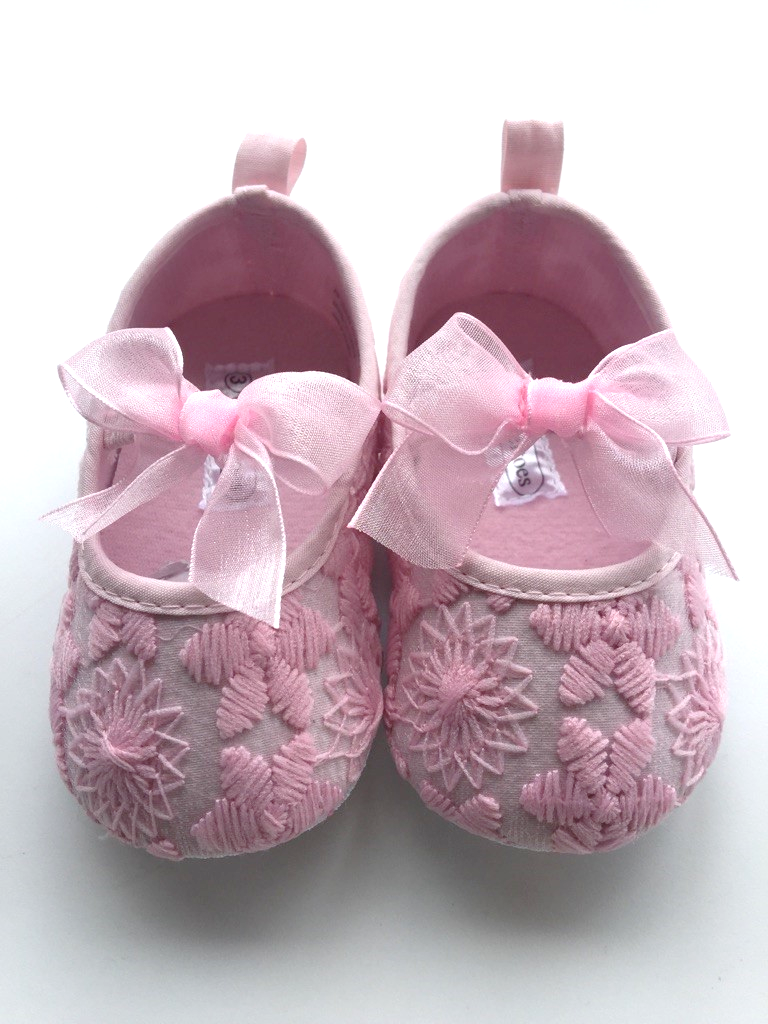 Girls Pink Dress Shoes Flowers Bow 6764