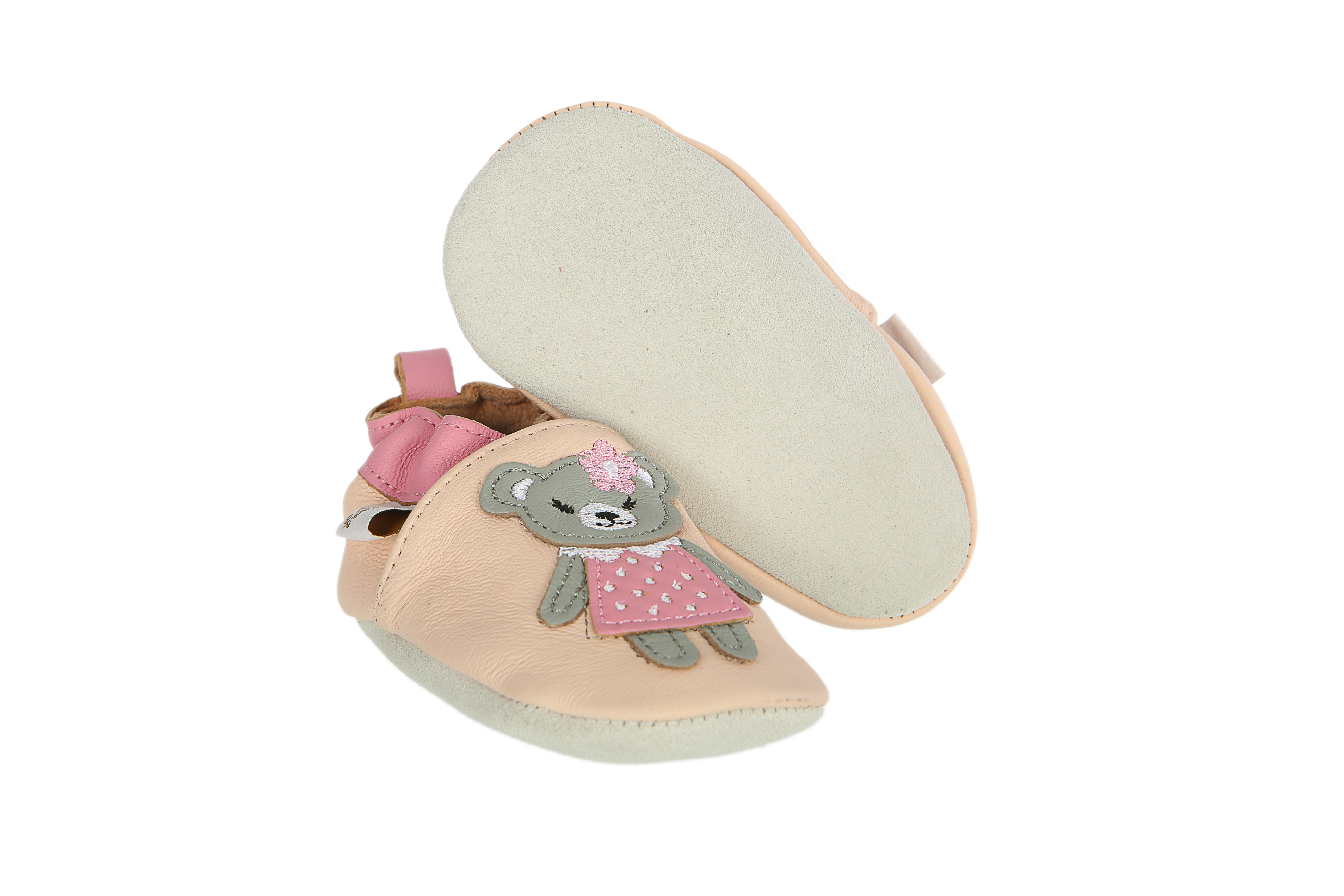 Tickle Toes Pink Teddy Bear Soft Leather Shoes 6778